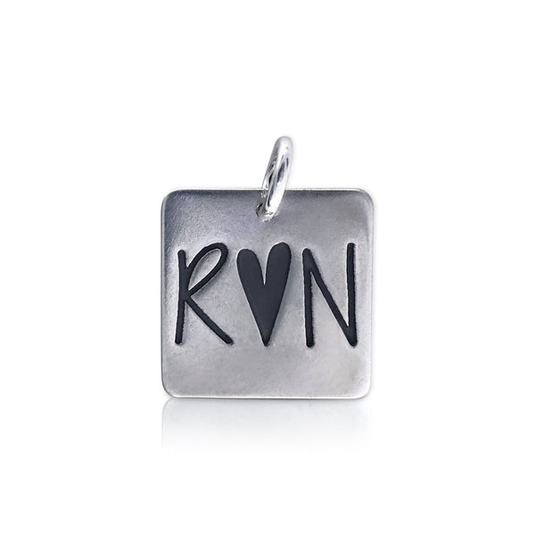 "Large Square ""R heart N"" Charm"