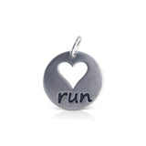 "Large Round ""heart run"" Charm"