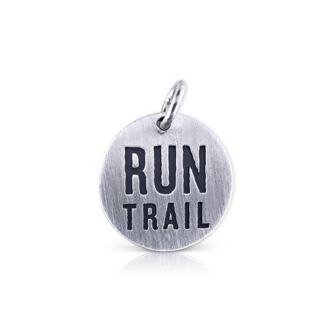 "Large Round ""Run Trail"" Charm"