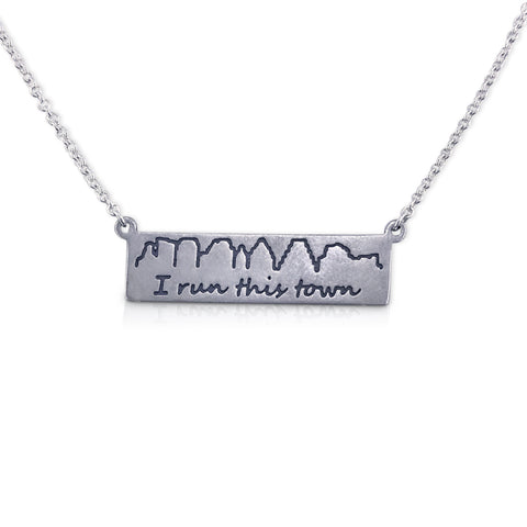 """I run this town"" Skyline Necklace, Austin"