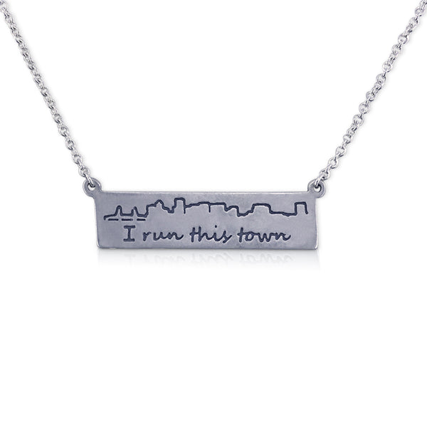 """I run this town"" Skyline Necklace, Portland"
