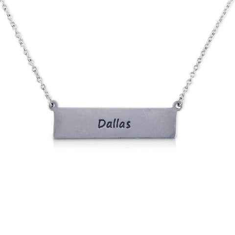 """I run this town"" Skyline Necklace, Dallas"