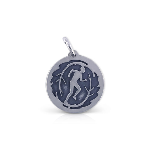 Large Round TCM Running Leaf Man Charm