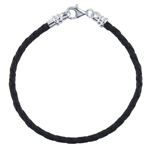 3mm Braided Leather Charm Bracelet
