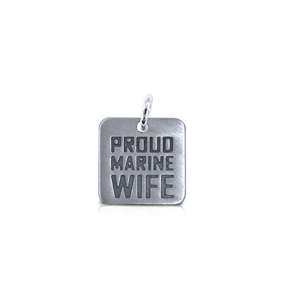 Small Square Proud Marine Wife Charm