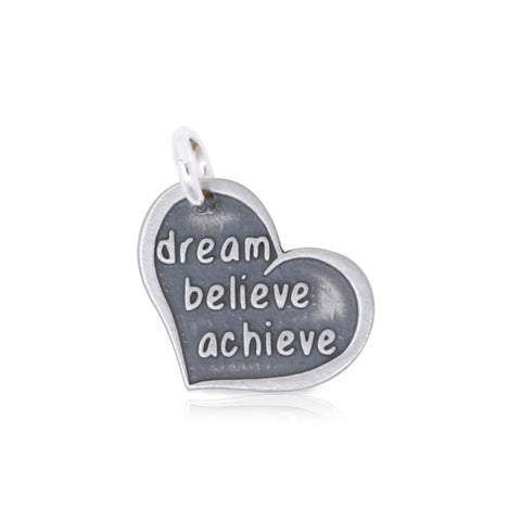 Dream Believe Achieve Heart Charm