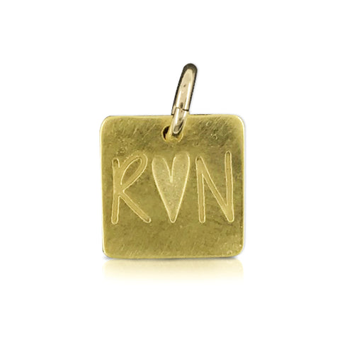 "Small Square ""R heart N"" Charm"