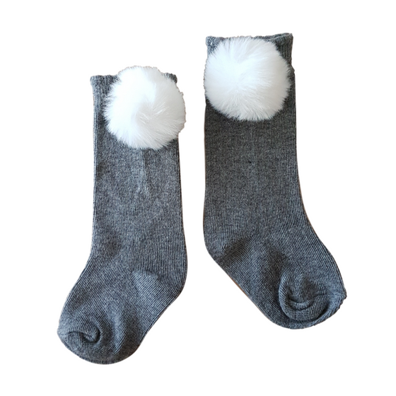 Cottontail Knee Socks in Light Grey