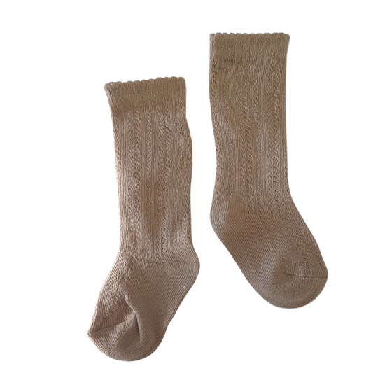 Georgie Openwork Knee Socks in Camel