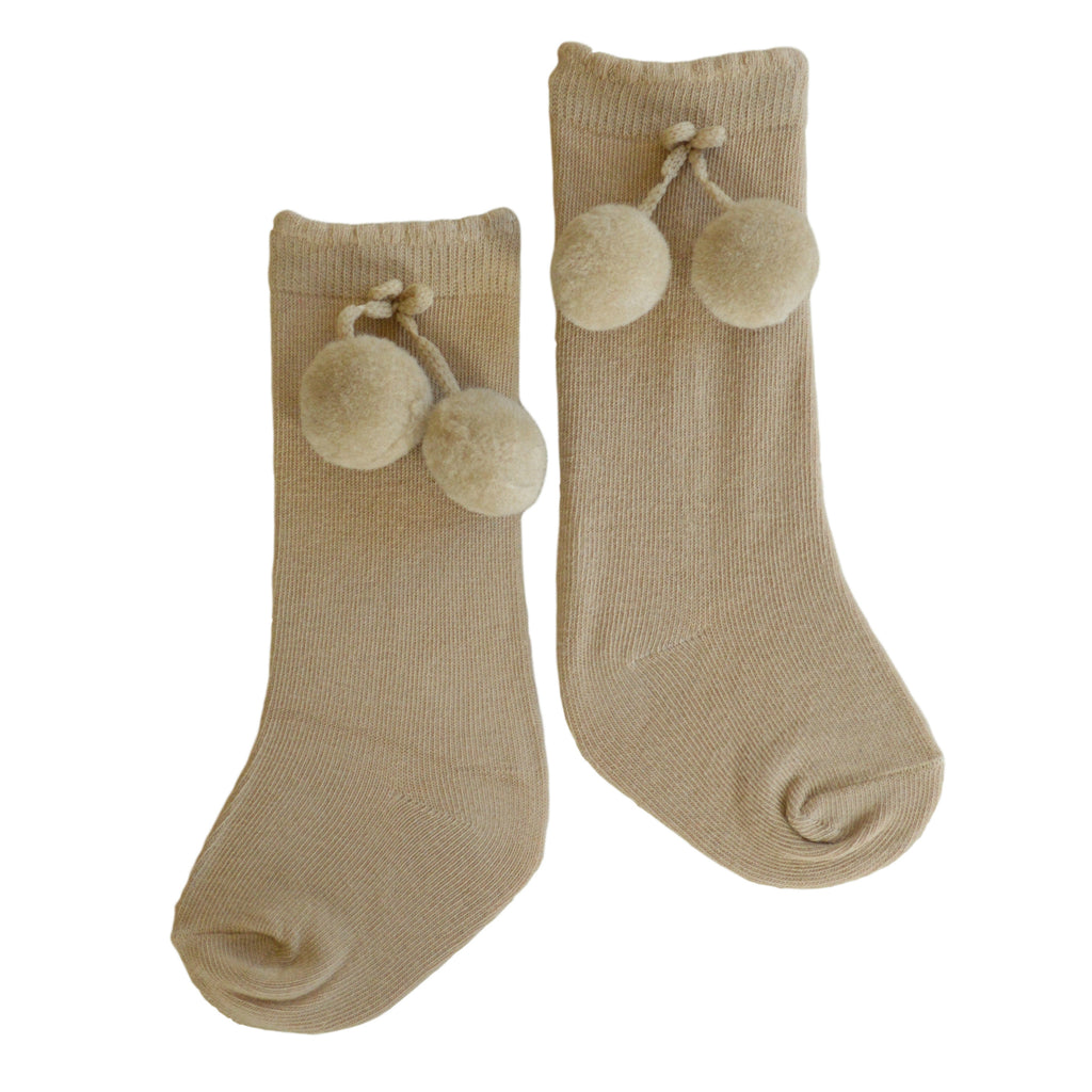 Monaco Double Pom Socks in Camel