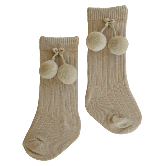 Brooklyn Double Pom Socks in Camel