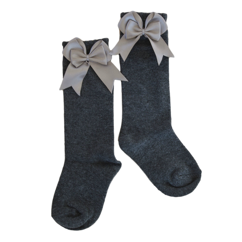 Valentine Bow Socks in Dark Grey