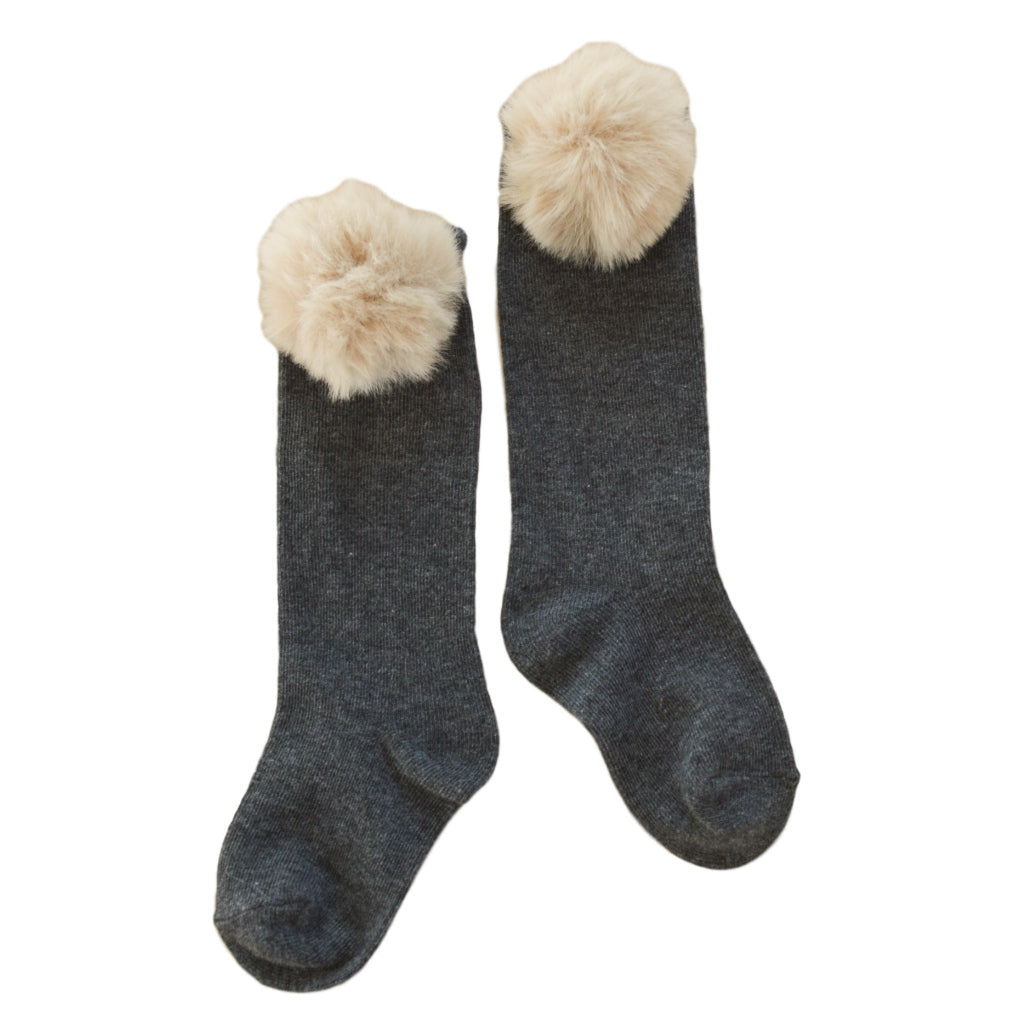 Piper Pom Socks in Dark Grey