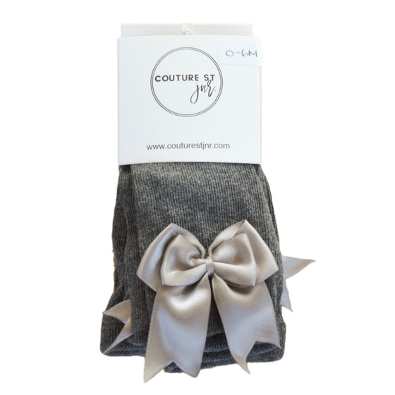 Valentine Bow Tights in Dark Grey