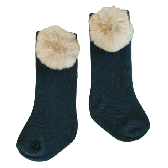 Piper Pom Socks in Forest Green