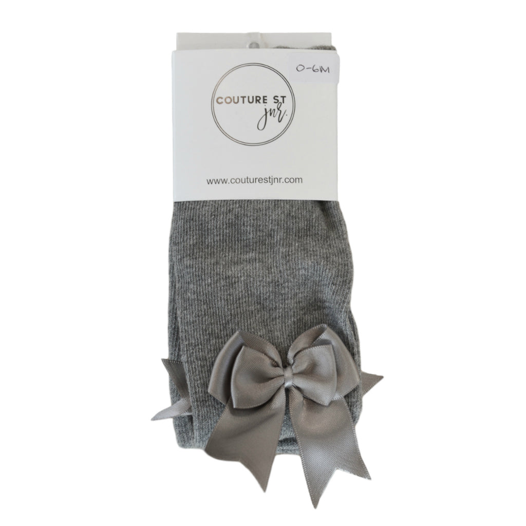 Valentine Bow Tights in Light Grey