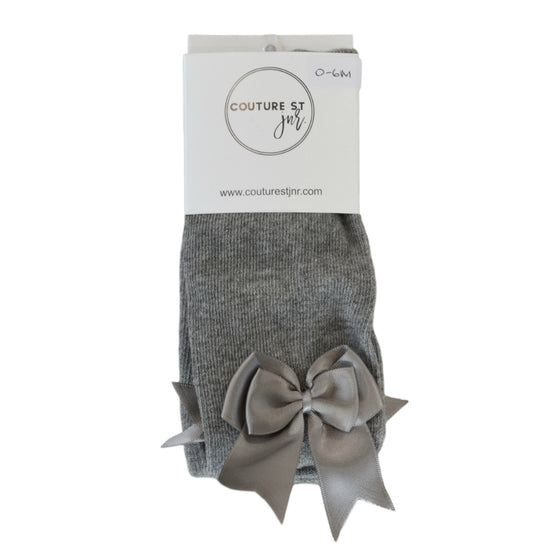 Bella Bow Tights in Light Grey