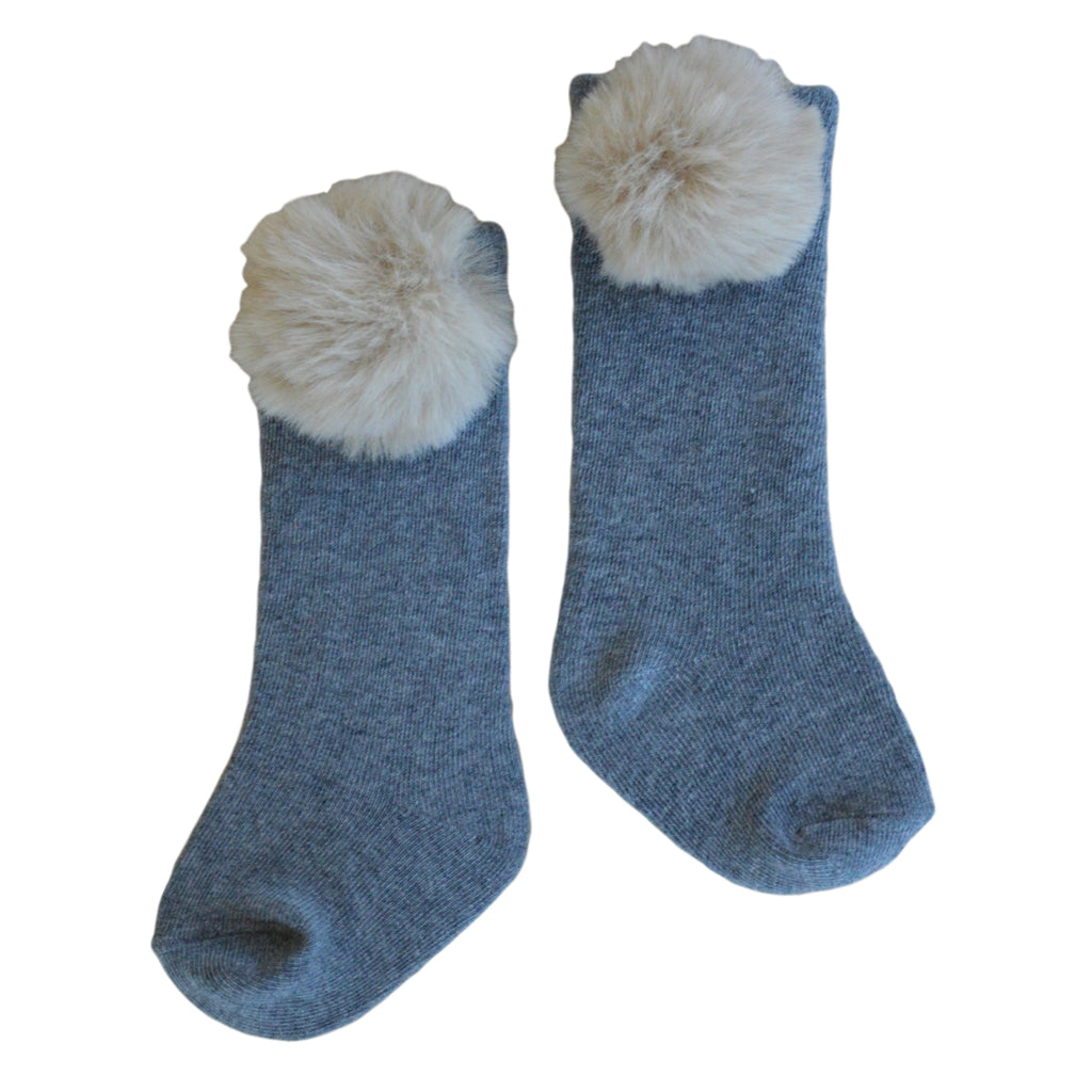 Piper Pom Socks in Light Grey