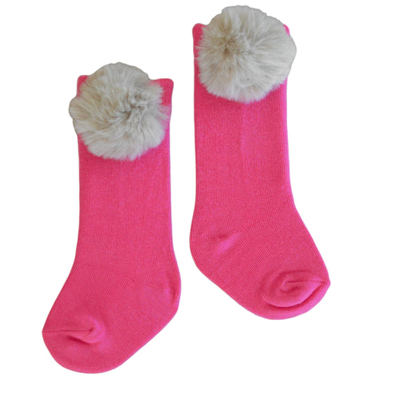 Piper Pom Socks in Hot Pink