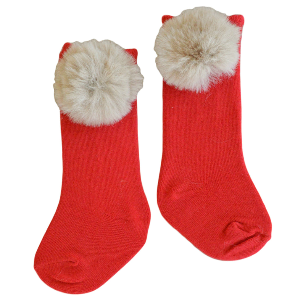 Piper Pom Socks in Letterbox Red