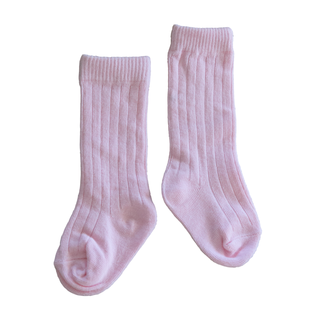 Windsor Ribbed Knee Socks in Fairy Floss