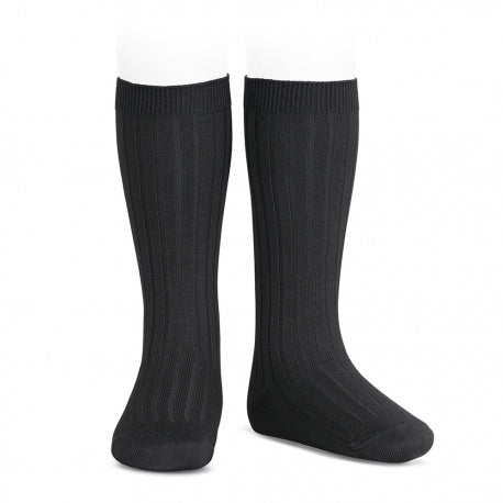 Condor Ribbed Knee Socks (900) Black