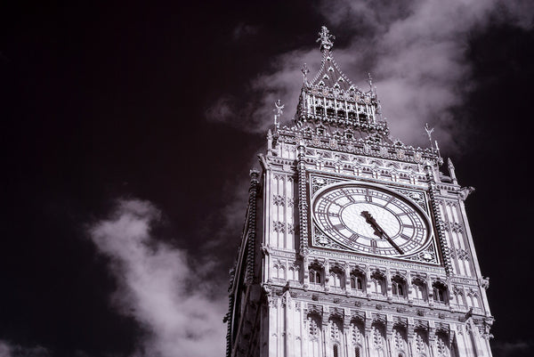 A photo of a landmark, Big Ben in London England shot in black and white. Photo is a free high resolution stock image to use any way you choose.