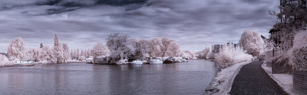 A photo of a lake shot in infrared. Photo is a free high resolution stock image to use any way you choose.