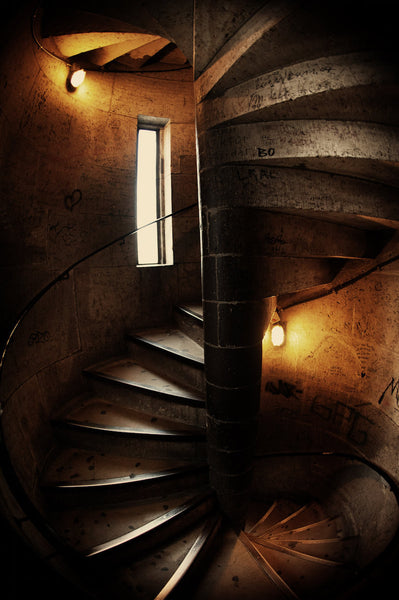 A photo of a spiral staircase inside a German castle. Photo is a free high resolution stock image to use any way you choose.