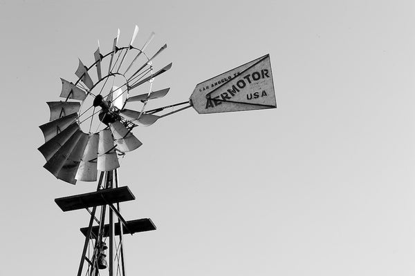 A photo of a windmill in San Angelo, TX in black and white. Photo is a free high resolution stock image to use any way you choose.