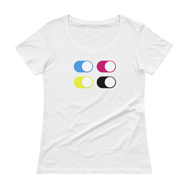 CMYK Mobile Switch White - Womens T-Shirt
