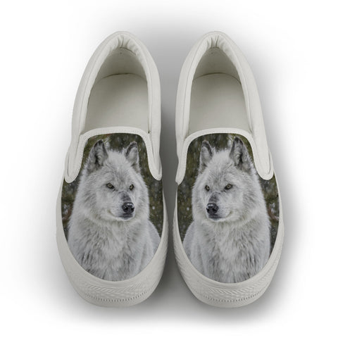 Wolf Series Women's Slip-On Canvas Shoe #2 - White