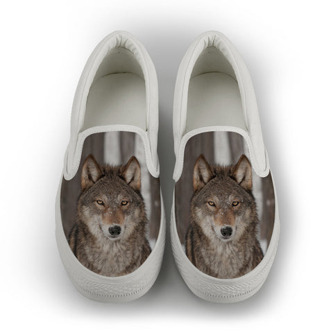Wolf Series Women's Slip-On Canvas Shoe #1 - White