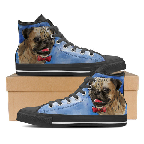 Pug Women's High Top Shoes - Black