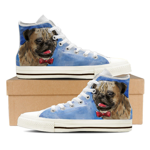 Pug Women's High Top Shoes - White