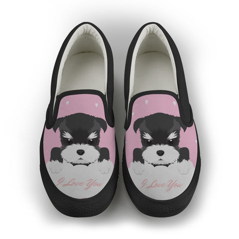 Schnauzer [ I Love You ] women's Slip On Shoes - Black