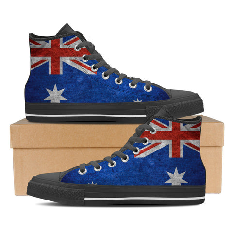 Aussie Flag #1 Men's High Top Shoes - Black
