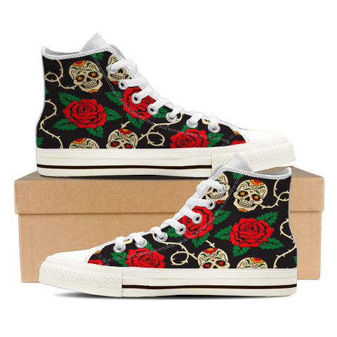 Sugar Skull #2 Women's High Top Shoes - White