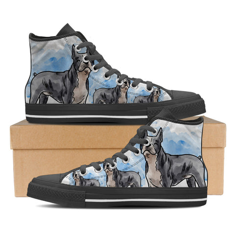 Boston Terrier Women's High Top Shoes - Black