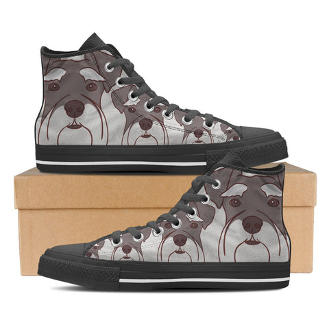 Schnauzer Men's High Top Shoes - Black