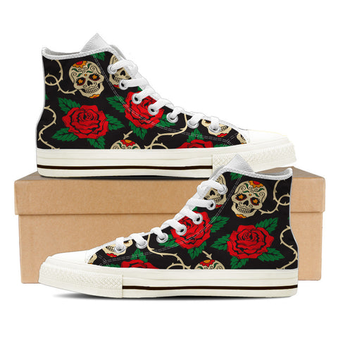 Sugar Skull #2 Men's High Top Shoes - White