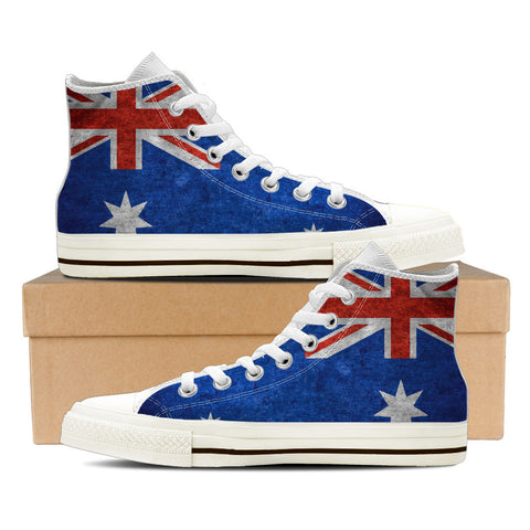 Aussie Flag #1 Men's High Top Shoes - White