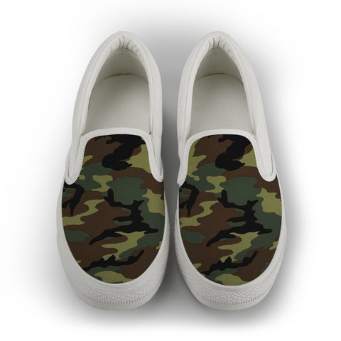 Camo Women's Slip On Shoes - White