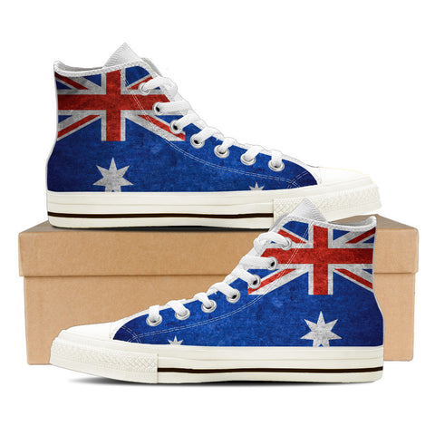 Aussie Flag #1 Women's High Top Shoes - White