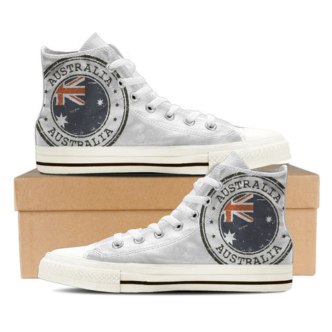 Aussie Flag #2 Men's High Top Shoes - White