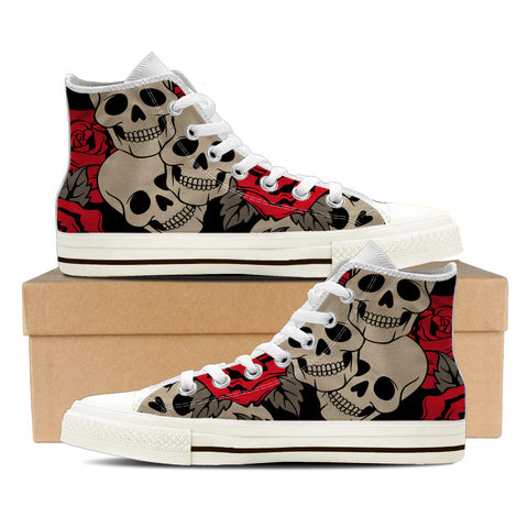 Sugar Skull #3 Men's High Top Shoes - White