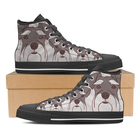 Schnauzer Women's High Top Shoes - Black