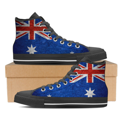 Aussie Flag #1 Women's High Top Shoes - Black