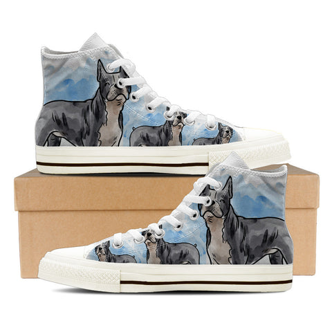 Boston Terrier Men's High Top Shoes - White