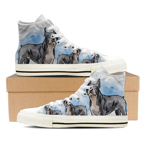 Boston Terrier Women's High Top Shoes - White